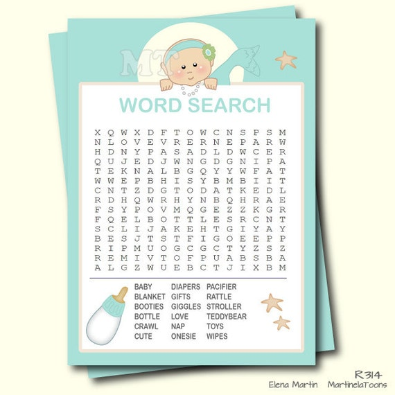 Mermaid Baby Word Search Game Printable Baby Shower Game