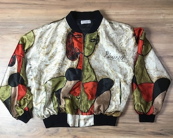 Vintage Picasso windbreaker bomber jacket abstract print 80s silk bomber jacket