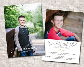 "Graduation Announcement, Graduation Invitation, Photo Graduation Announcement, Graduation Party, Printable Graduation Announcement (""Josh"")"