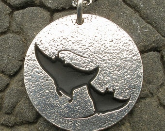 2 Manta Rays Dancing Pendant, hand crafted recycled sterling silver, scuba diving necklace, handmade diver jewelry