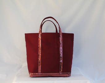Tote bag in Burgundy cotton with Burgundy sequins