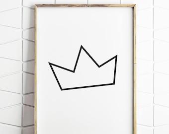 birthday crown, crown print, royal crown, royal crown art, crown poster, crown decor, crown minimal art, crown download