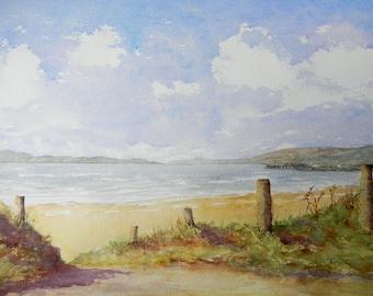 White Strand Beach, Buncrana, Co Donegal, Made in Ireland. Irish Art, Irish Watercolour. Hand Made.
