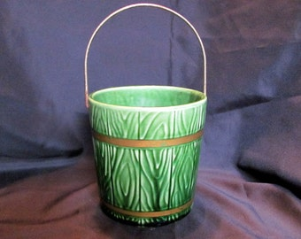 Hull Art Green Pottery, Pail, Bucket with Brass Handle