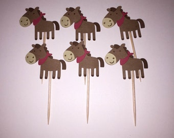 12 Horse Cupcake Toppers, Birthday, Baby Shower, Western Party Decorations
