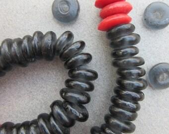 Black Ghana Glass Disk Beads (11-12x4mm) [68308]