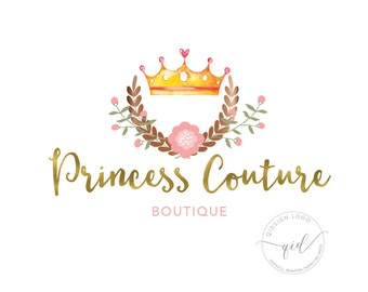 Logo watercolor crown with wreath logo boutique logo business card sign watermark for photography princess logo design