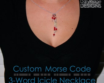 Icicle Necklace - 3 Word  | Custom Morse Code Jewelry | Wedding Jewellery | Bridesmaid Gifts | Teacher Gifts | Personalized Gifts for Her