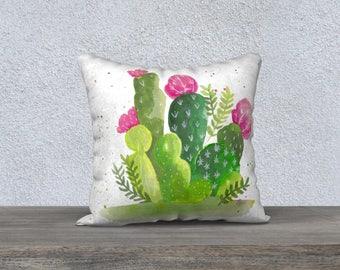 """Housse de coussin """"Cactus à l'aquarelle"""""""
