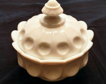 Milk Glass Covered Compote in the Thumbprint Pattern by Westmoreland Glass
