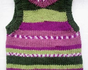 Baby tank top, vegan slipover vest, knit , 9 - 18 months  purple green by SpinningStreak