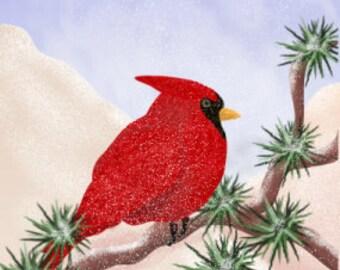 Painting ACEO Red Cardinal, Bird, Christmas Cardinal, Winter, Santassongbird, Original Graphic Design Art Card