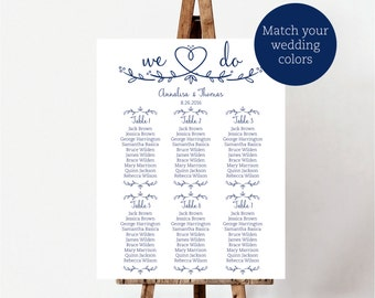 Seating Chart Printable, We do Seating Plan template, guest list printable, Seating chart poster sign, navy guest list