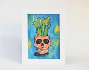 Skull Potted Cactus - Cactus Art - Skull Planter - Art Print on Handmade Paper - Home Decor - Office Decor - Cactus Print