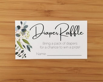 Greenery Diaper Raffle Ticket and Sign