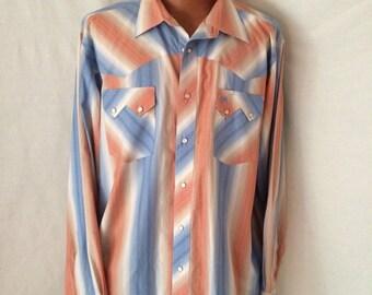 Wrangler XL soft color striped cowboy snap shirt