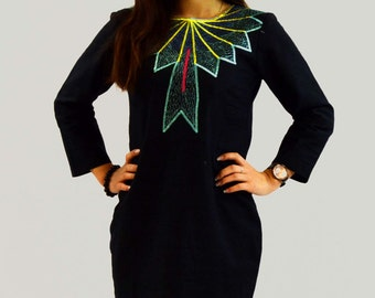 very nice dress long sleeve linen embroidered
