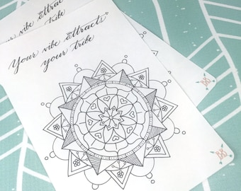 """Full Page A5 """"Your Vibe Attracts Your Tribe"""" Coloring Sticker"""