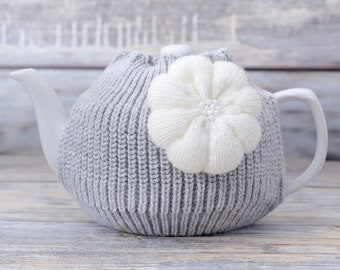 Teapot cozy Tea pot warmer Cozies Kitchen decor Knitted cosy Home accent White flower Housewarming gift for her Family breakfast