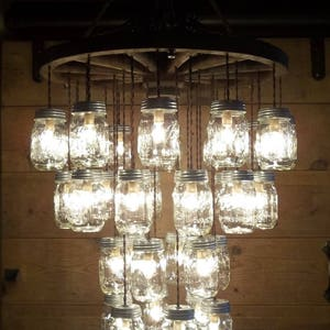 Wooden Wagon Wheel Chandelier 24