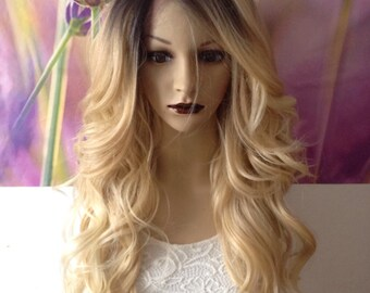 Human hair blend Ombre Dark Roots To Blonde 613 Lace Front Wig