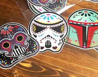 Stickers: Star Wars-Darth Vader, Boba Fett, Storm Trooper, Kylo Ren Inspired Dark Side Sugarskull Sticker Decal Set. FREE SHIPPING