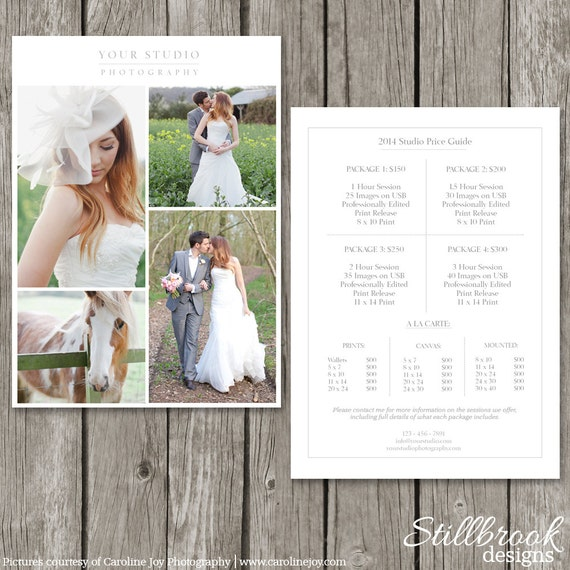 Charming Photography Price List Template   Wedding Price Sheet   Photographer Pricing  Guide   PG03