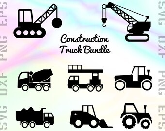 Construction SVG Files - Construction Dxf Files - Truck Clipart - Construction Cricut Files - Truck Cut Files - Construction Silhouette