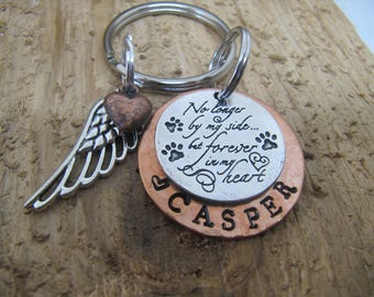 Dog memorial, Cat memorial,  Pet memorial key chain, loss of pet, Sympathy gift,  loss of pet, No longer by my side  but forever in my heart