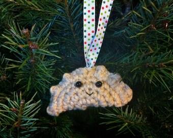 Crochet Pierogi Christmas Ornament with Polka Dot Ribbon
