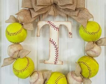 Baseball Wreath with Burlap Bow - Softball - Coach's Gifts- Baseball - Front Door Wreaths - Monogram - Spring Wreath - Baseball mom