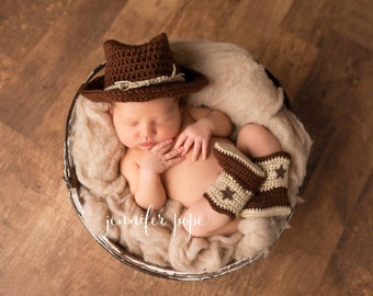 Newborn, Baby, Cowboy Hat, Cowboy Boots, Custom Made to Order