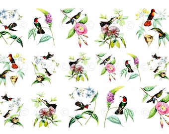 Hummingbird Water-Slide Decals, Watercolor Birds, Wedding and Party Decals, Decorate Flame-less Candles, Soap, Glass, Home Decor, Furniture