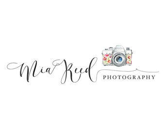 Photography logo, premade logo design, watercolor camera logo, photographer watermark n13