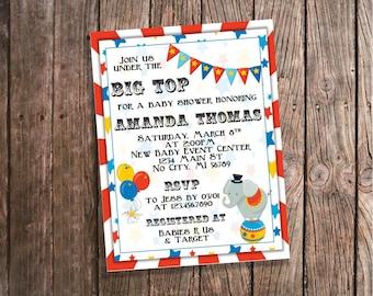 Circus Baby Shower Invitations - Under the Big Top - Circus Elephant baby shower - Gender Neutral Printable Invitation - Big Top DIGITAL