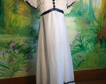 Sixties Does Forties, Blue Dotted, Maxi Dress