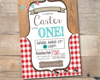 Picnic Party Invitation, Printable Picnic Birthday Invite, Personalized, First Birthday, Kids Birthday, Teddy Bear Picnic, Gingham & Wood