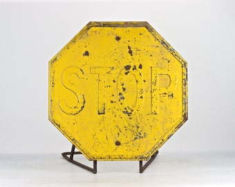 Yellow Stop Sign | Stop Sign | Metal Stop Sign | Vintage Stop Sign | Traffic Sign | Industrial Decor