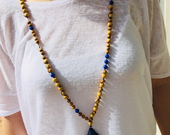 Necklace, Charm Talisman, Handmade,  Boho necklace, Amulet, Lucky Charm, Summer necklace, Silk, Good luck, Symbols, Made in Greece