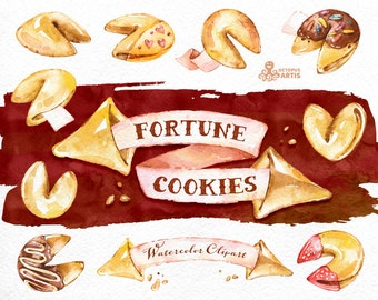 Fortune Cookies. Watercolor clip art. Banners, papers, predictions, yellow, pink, chocolate, handpainted, png, diy elements, quotes