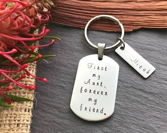 Gift for Auntie - Personalised Gift for Aunt - Mothers Day gift - Gift for Aunt - Personalised Keyring - Hand Stamped Keychain