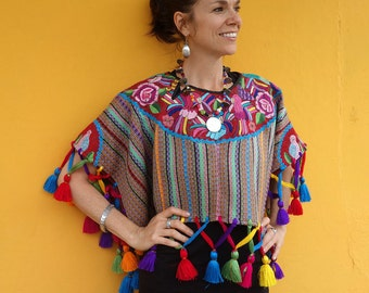 Maya Woman's Vintage Geometric Multi Color Bird Huipil Textile Boho Poncho with Tassels from Guatemala