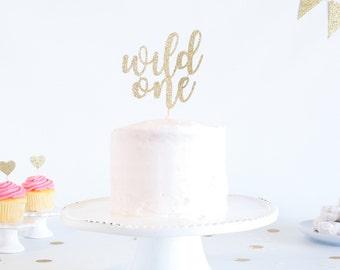 Wild One Cake Topper - Glitter - 1st Birthday. Smash Cake Topper. Birthday Party. First Birthday. Birthday Cake Topper. 1st Birthday Decor.