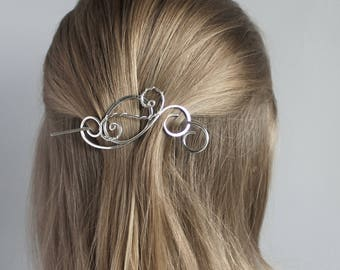 Small Silver Hair Slide Wire Wrapped Swirls, Silver Hair Stick, Silver Hair Barrette, Silver Hair Brooch, Hair Accessories for Women Gift