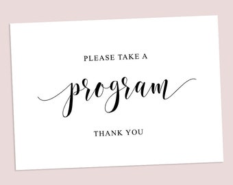 Please Take A Program Sign | Printable | Instant Download | Print | Artwork | A4 | Parties & Weddings