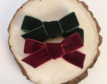 Velvet bows | baby headband | nylon headband | velvet | bows | girl | toddler | clip