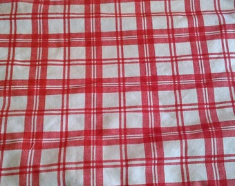 Red and Off White Plaid Heavy Cotton Fabric 1 1/3 Yards  X1116