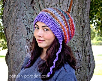 Crochet Pattern for Slouchy Hat Waves of Warmth, Child to Adult PDF 16-244