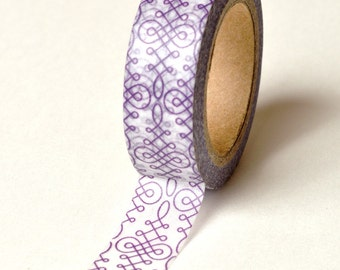 Washi Tape - 15mm - Purple Calligraphy - Deco Paper Tape No. 781