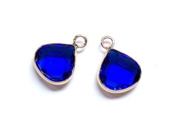 2 Sapphire Blue  Glass Pendant, Jewelry Supplies, Gold Plated over Brass, Tear Drop  Pendant